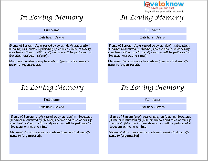 Basic Obituary Template