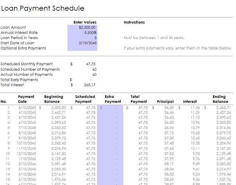 loan amortization template 18