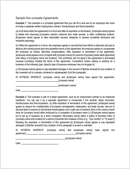 Non Compete Agreement Template 03