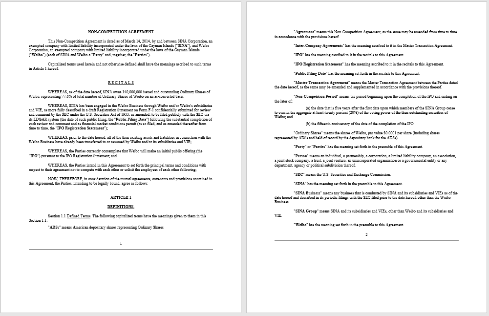 Non-compete Agreement Template 07