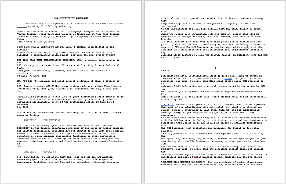 non-compete agreement template 15