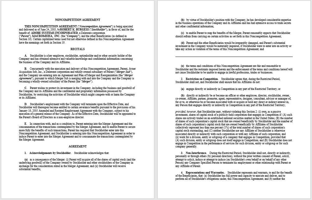 37 Free Non Compete Agreement Templates Ms Word Templatehub
