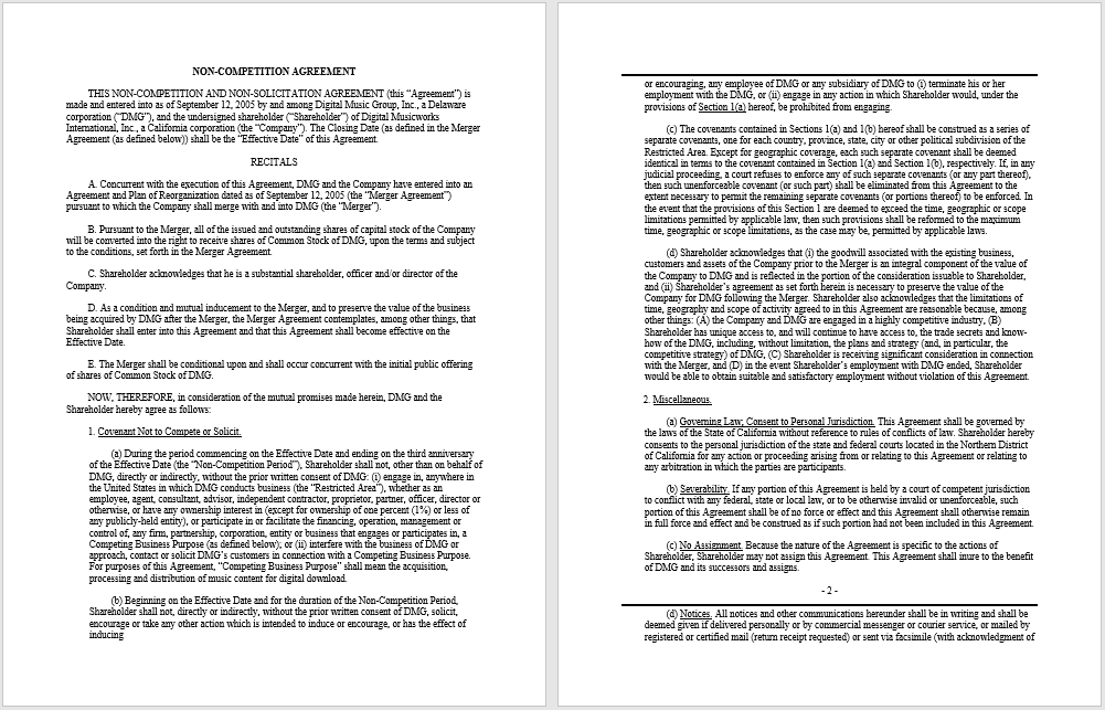 non-compete agreement template 24