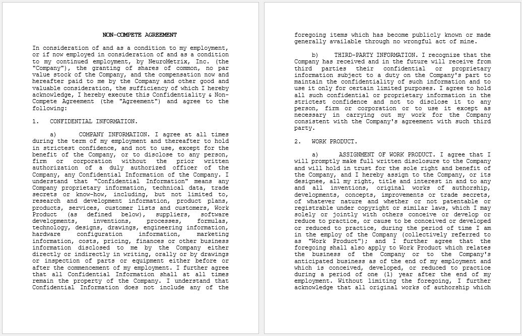 non-compete agreement template 29