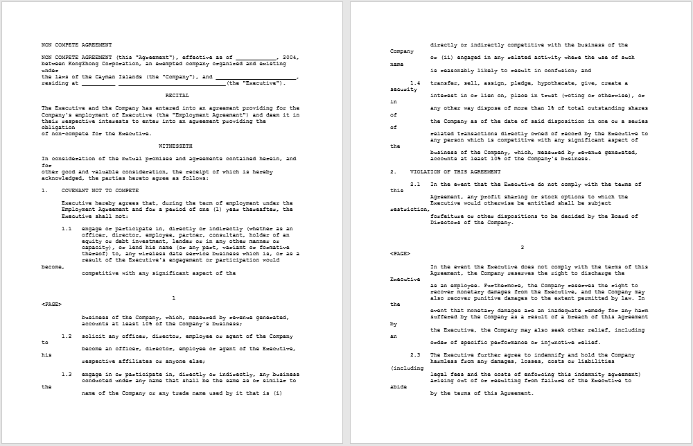 non-compete agreement template 35