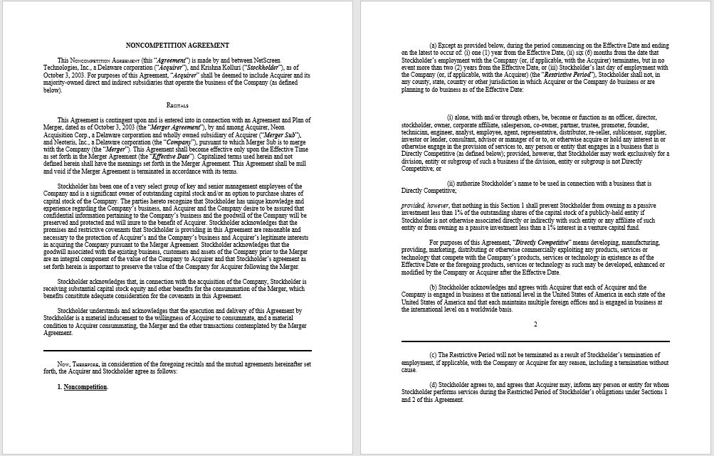 non-compete agreement template 36