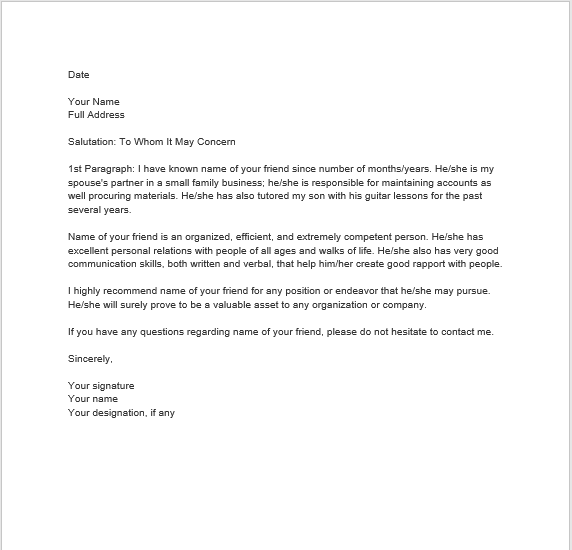 Personal Reference Letter 21  Family Reference Letter