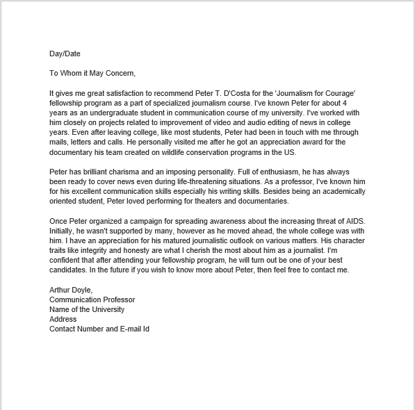 personal reference letter 25