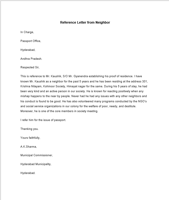 Reference Letter From Neighbor For Passport