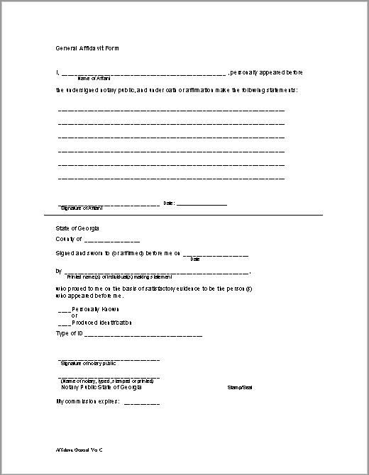 affidavit form 12