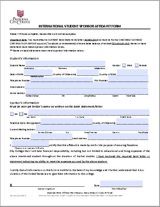 affidavit form 14