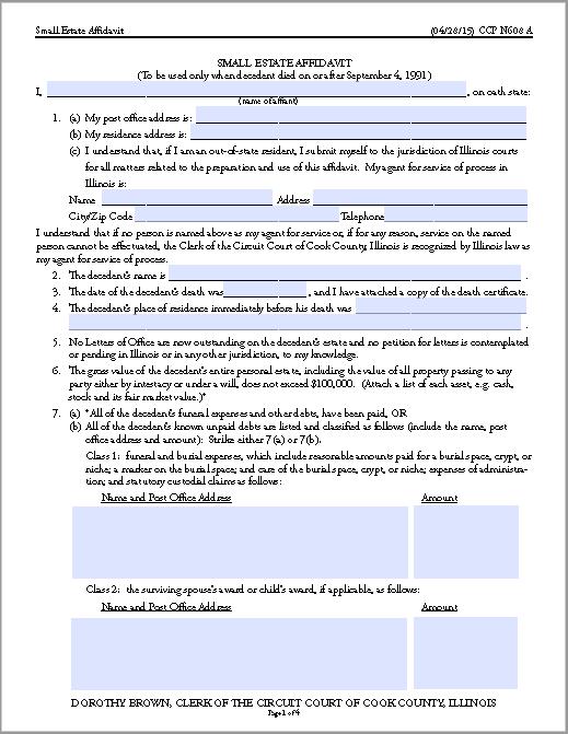 affidavit form 15