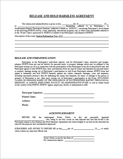 hold harmless agreement ms word template 04