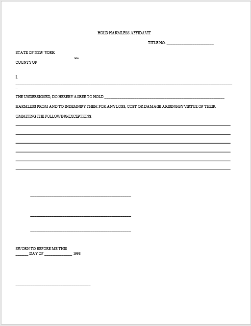 hold harmless agreement ms word template 05