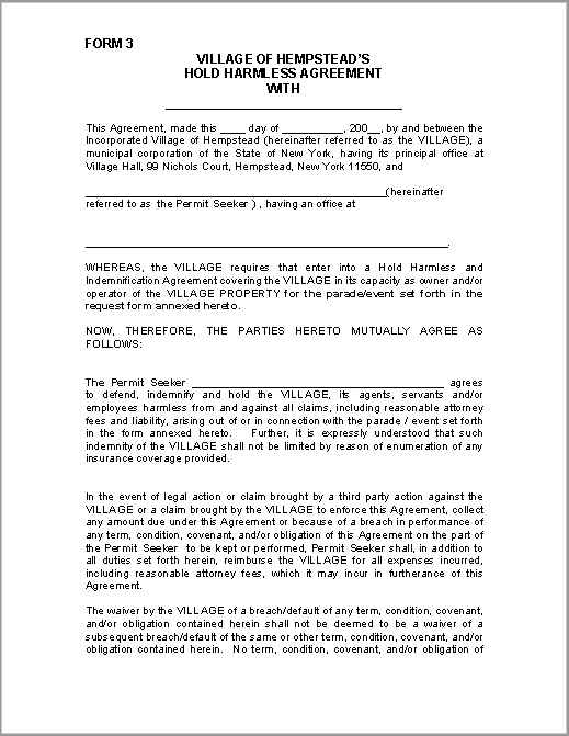 Hold Harmless Agreement Template 05  Indemnity Agreement Template
