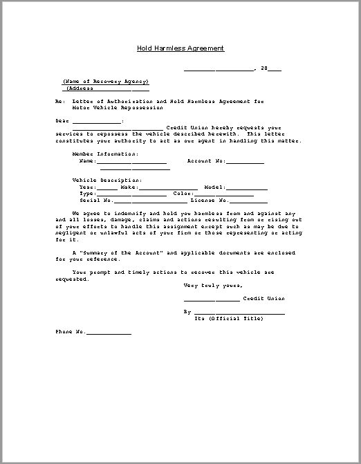 hold harmless agreement template 10