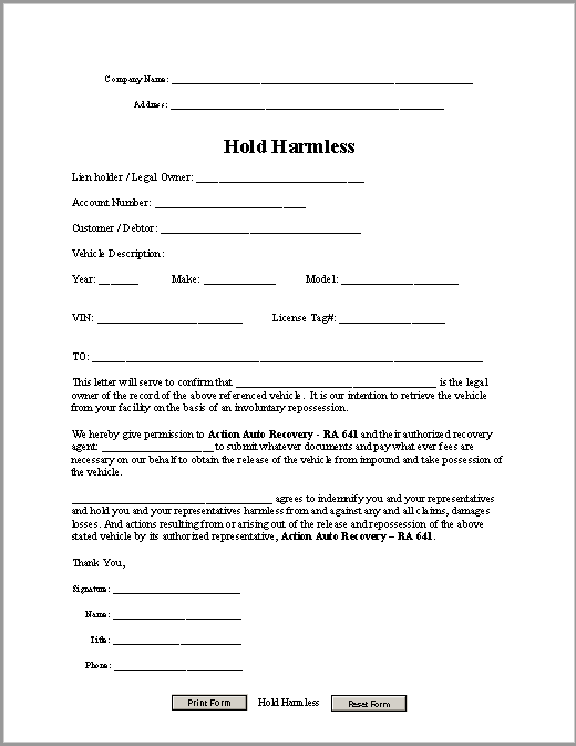 hold harmless agreement template 17