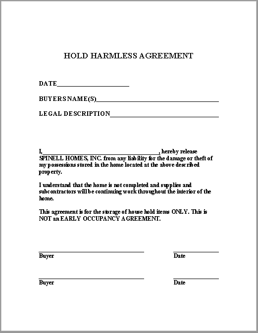 hold harmless agreement template 22