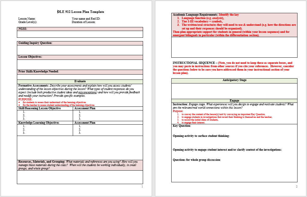 Microsoft Word Lesson Plan Template Pasoevolistco - Templates for lesson plans