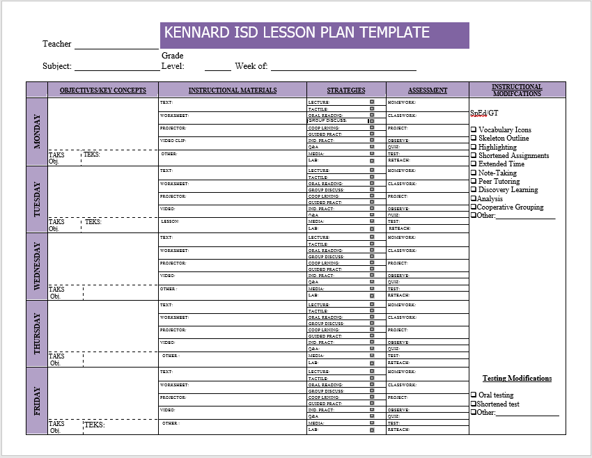 39 Free Lesson Plan Templates MS Word and PDFs TemplateHub – Lesson Plan Template for Word