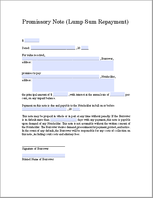 promissory note template 17