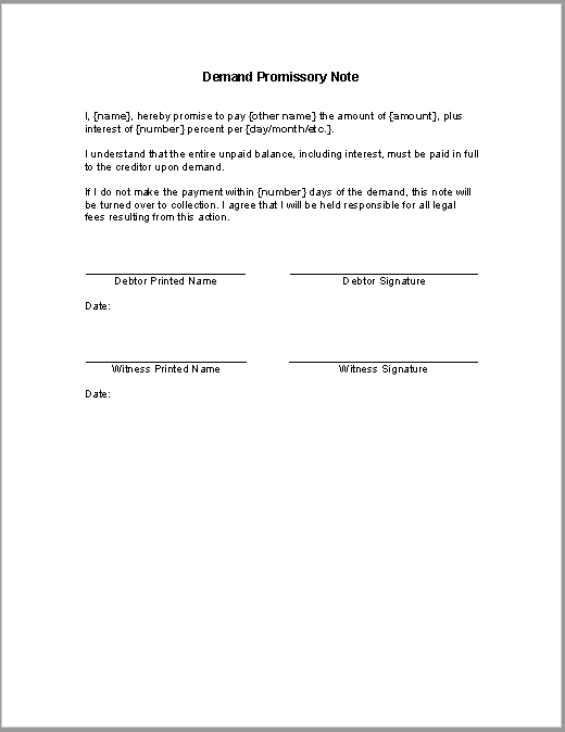 promissory note template arizona - demand promissory note sample