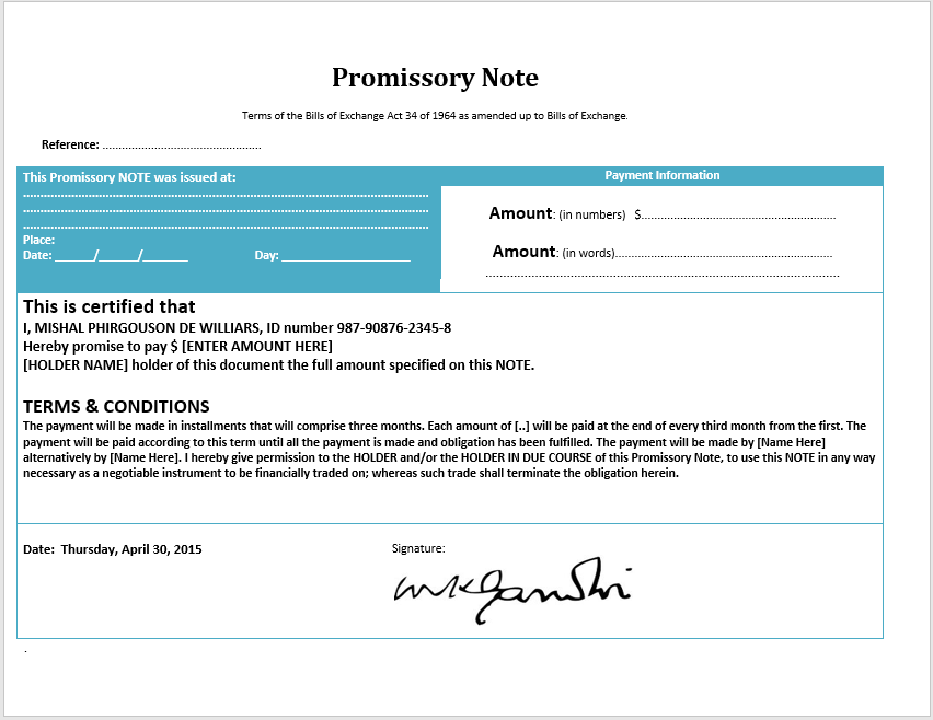 Promissory note template microsoft for Promissory note template arizona