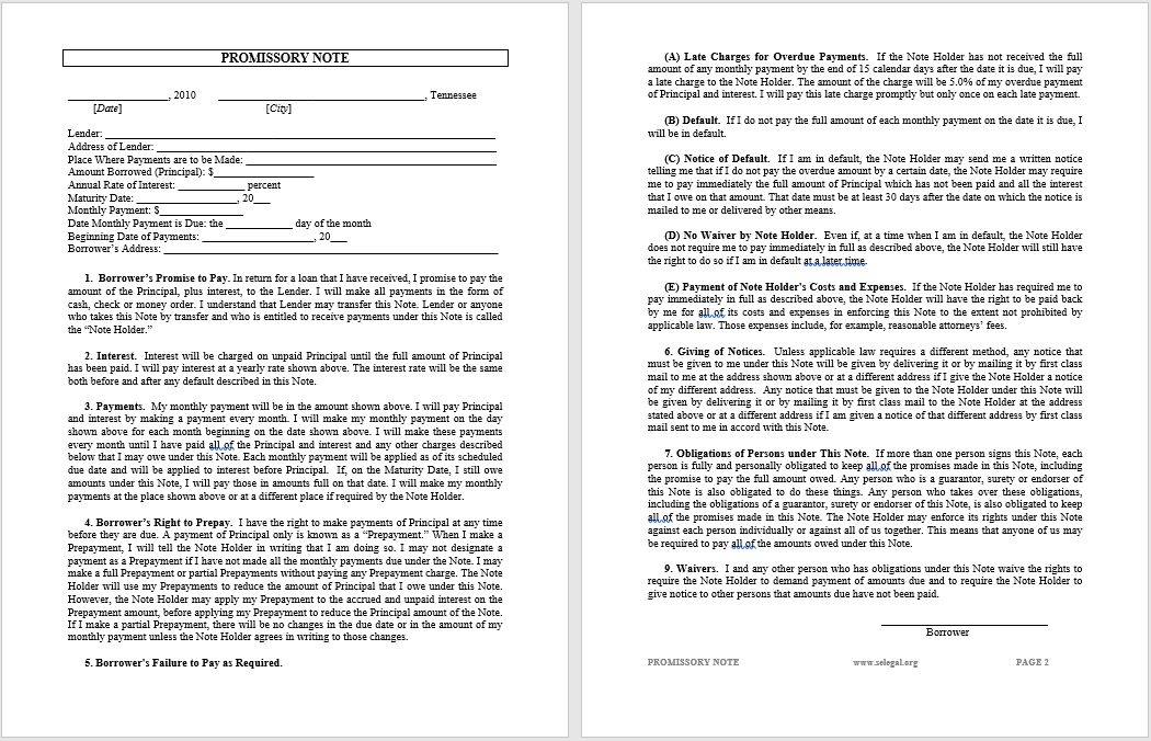Promissory Note Template Word 06  Promissory Note Word Template