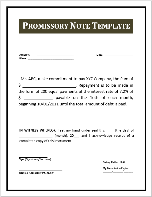 Promissory Note Template Word 09  Note Payable Form