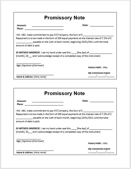 Free Promissory Note Samples Templates MS Word And PDFs - Corporate promissory note template