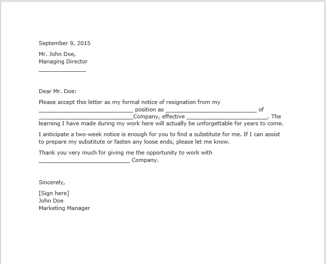 resignation letter with notice 03