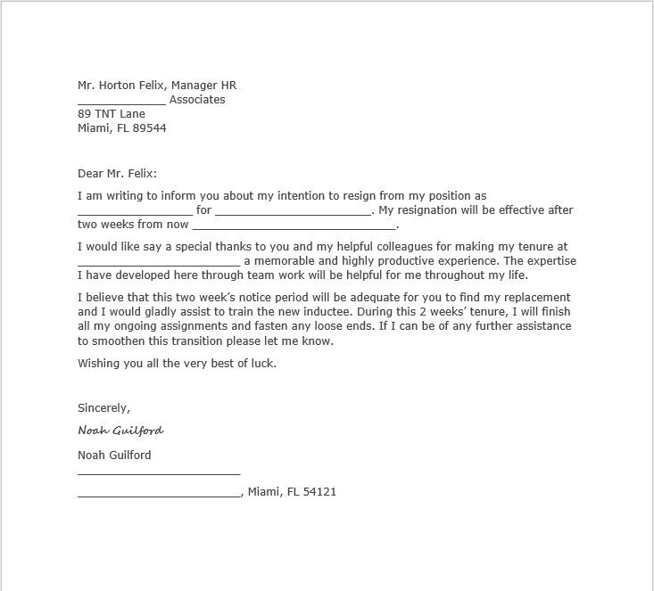 resignation letter with notice 06