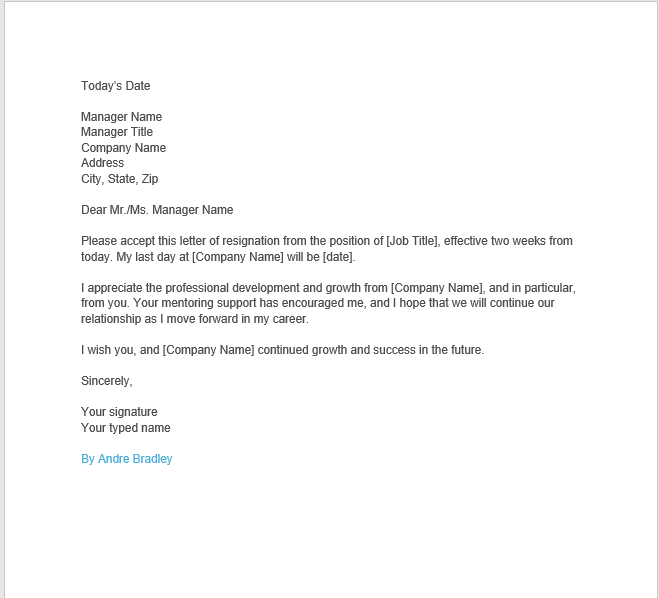 resignation letter with notice 07