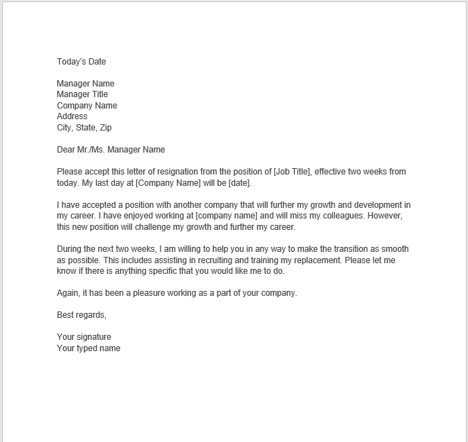 resignation letter with notice 09