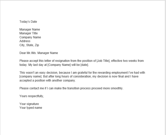 resignation letter with notice 10