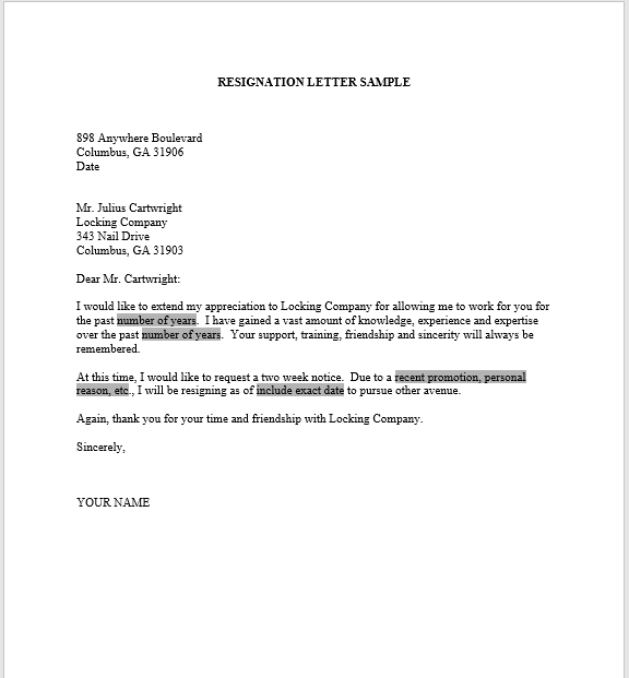 resignation letter with notice 11