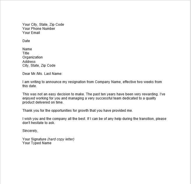 resignation letter with notice 13