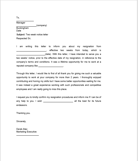 resignation letter with notice 18