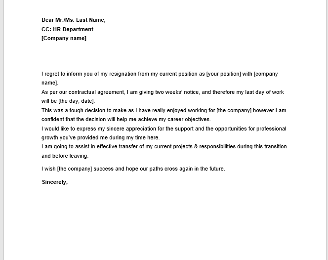 resignation letter with notice 19