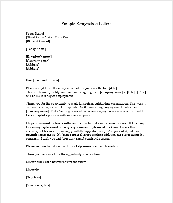 resignation letter with notice 20