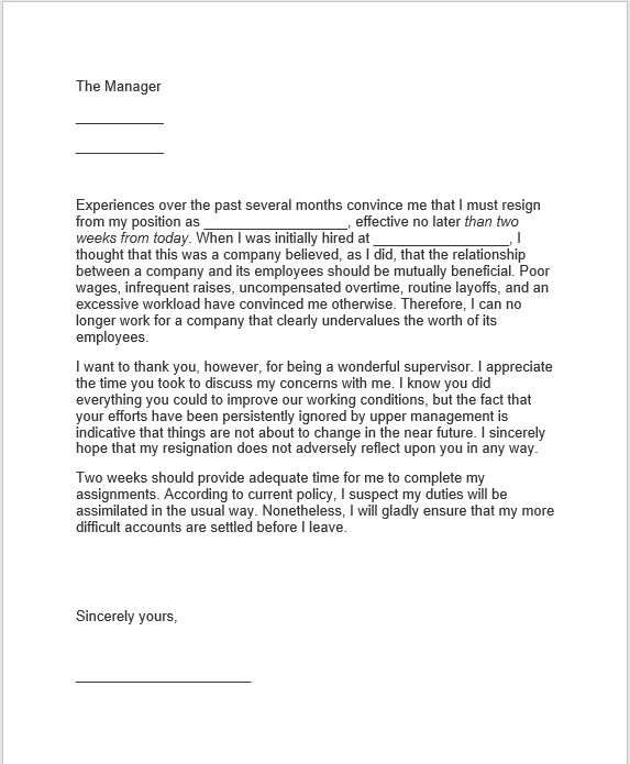 resignation letter with notice 21