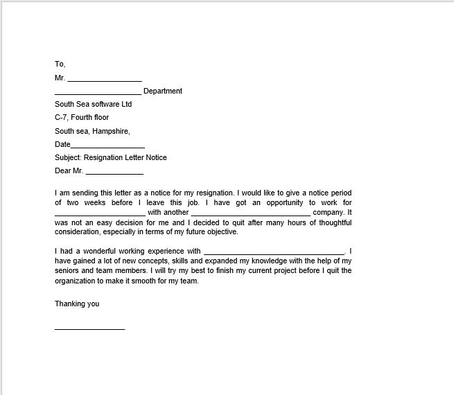 resignation letter with notice 29