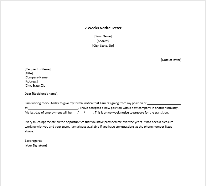 resignation letter with notice 30