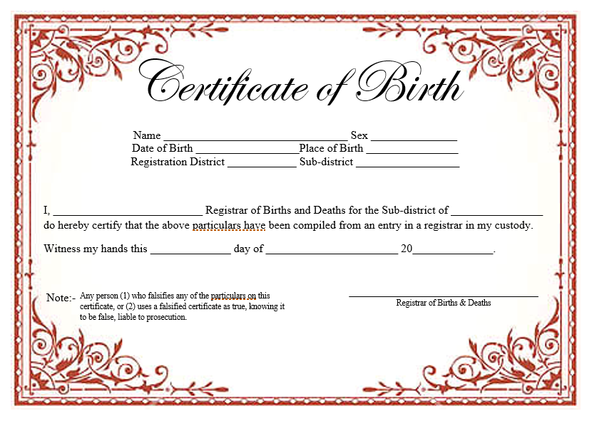 14 free birth certificate templates ms word pdfs for Certificate template word 2016