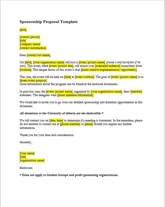 Sponsorship Letter Template 03  Format For Sponsorship Letter