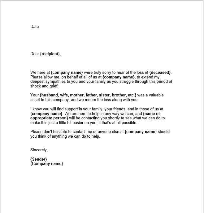 sympathy letter sample 04