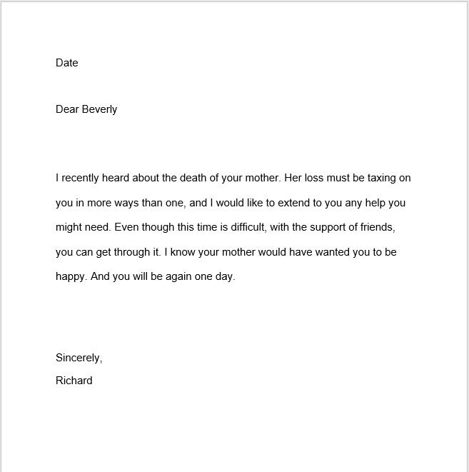 sympathy letter sample 14