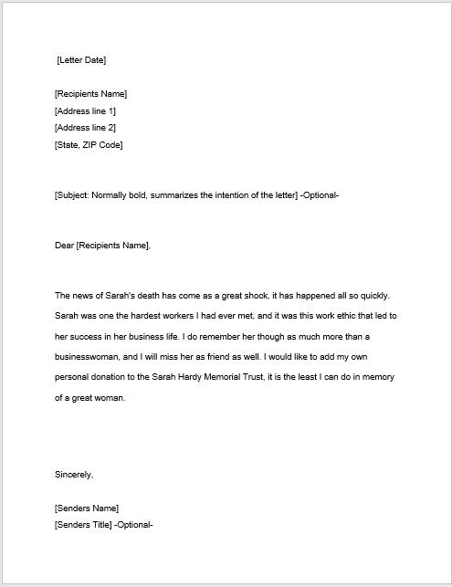 sympathy letter sample 18