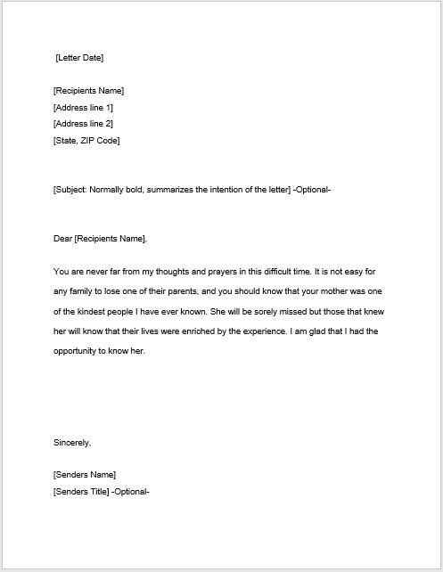sympathy letter sample 20