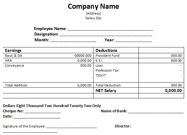 Salary Slip Sample Templates For Free Excel And Word  Templatehub